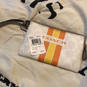 Used Coach Wristlet Signature Orange & Yellow